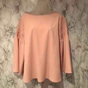 Ann Taylor Blush Pink Blouse Flute Sleeves